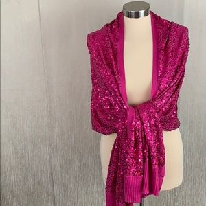 👑 IMAN LARGE PINK SEQUIN WRAP 💯AUTHENTIC